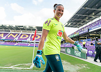 ORLANDO, FL - FEBRUARY 18: Aline #12 of Brazil walks off the field before a game between Argentina and Brazil at Exploria Stadium on February 18, 2021 in Orlando, Florida.