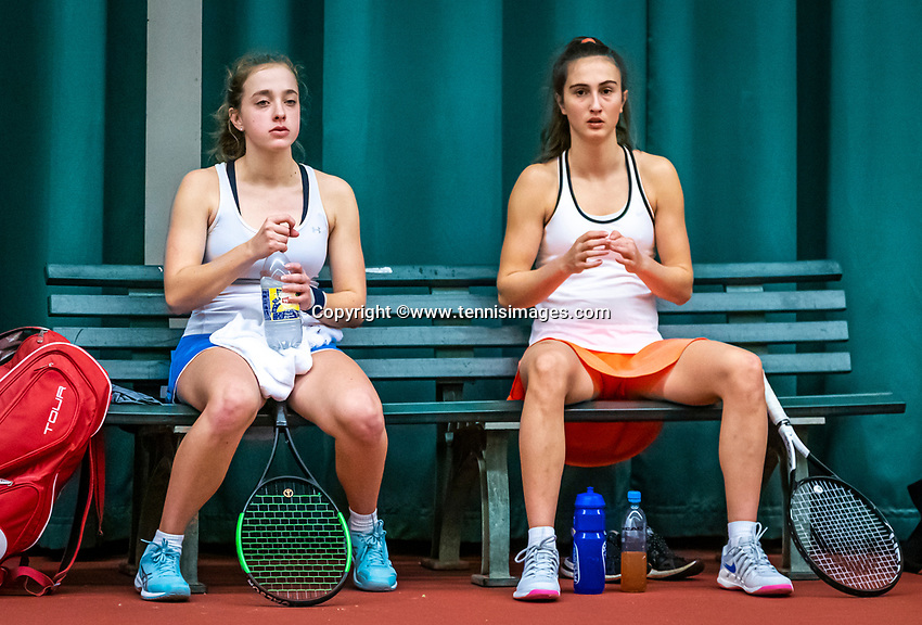 Wateringen, The Netherlands, December 15,  2019, De Rhijenhof , NOJK juniors doubles , Final 12 years years, Charlotte Haas (NED) and Britt van Zeelst (NED) (L)<br /> Photo: www.tennisimages.com/Henk Koster