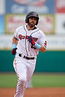 Rochester Red Wings Jake Cave (15) rounds the bases after hitting a home run during an International League game against the Charlotte Knights on June 16, 2019 at Frontier Field in Rochester, New York.  Rochester defeated Charlotte 3-2 in the second game of a doubleheader.  (Mike Janes/Four Seam Images)