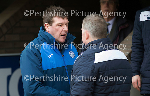St Johnstone v Motherwell…20.02.16   SPFL   McDiarmid Park, Perth<br />Tommy Wright and Mark McGhee shake hands before kick off<br />Picture by Graeme Hart.<br />Copyright Perthshire Picture Agency<br />Tel: 01738 623350  Mobile: 07990 594431