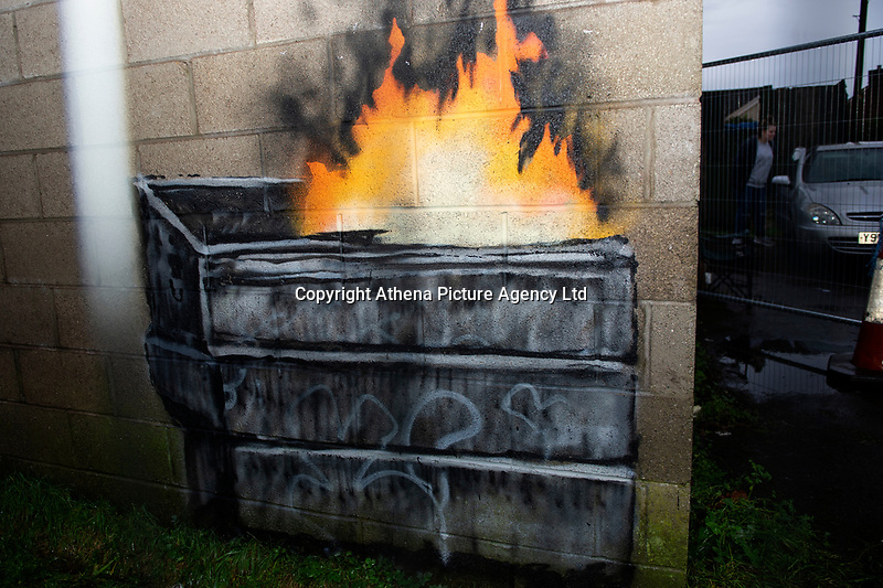 "Pictured: A general view of the Banksy Graffiti in Taibach, Port Talbot, Wales, UK. Wednesday 19 December 2018<br /> Re: The artist Banksy has confirmed that a new graffiti piece that has appeared in south Wales is his.<br /> He used his verified Instagram account to announce: ""Season's greetings' - with a video of the artwork in Port Talbot."