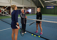 Rotterdam, The Netherlands, March 20, 2016,  TV Victoria, NOJK 14/18 years, umpire does the toss with Annick Melgers  (R) and Nina Kruijer <br /> Photo: Tennisimages/Henk Koster