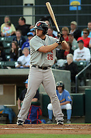 Frederick Keys 1st baseman Aaron Baker #25 at bat during a game against the Myrtle Beach Pelicans at Tickerreturn.com Field at Pelicans Ballpark on April 25, 2012 in Myrtle Beach, South Carolina. Myrtle Beach defeated Frederick by the score of 3-1. (Robert Gurganus/Four Seam Images)