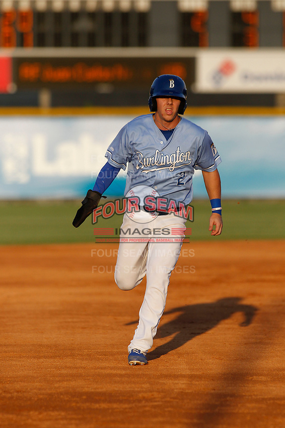 Burlington Royals outfielder Eric Cole (2) running the bases during a game against the Kingsport Mets at Burlington Athletic Complex on July 28, 2018 in Burlington, North Carolina. Burlington defeated Kingsport 4-3. (Robert Gurganus/Four Seam Images)