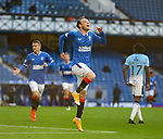 04.10.2020 Rangers v Ross County: Brandon Barker scores goal no 2 for Rangers and celebrates
