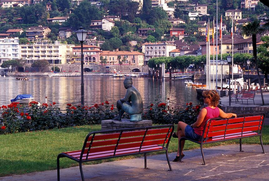 Switzerland, Ticino, Ascona, Lakefront park along Lake Maggiore in the city of Ascona.