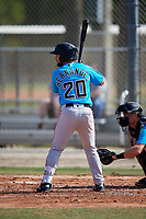 Miami Marlins Michael Hernandez (20) during a Minor League Spring Training Intrasquad game on March 28, 2019 at the Roger Dean Stadium Complex in Jupiter, Florida.  (Mike Janes/Four Seam Images)
