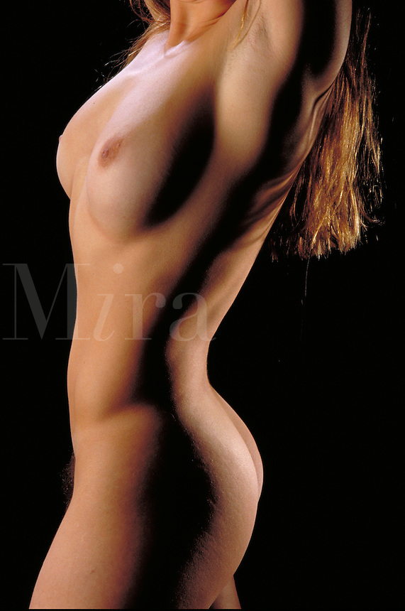 Beautiful Nude Young Woman, figure study, profile, shoulders to mid-thigh, anatomy, model. Anna Raye. Boulder Colorado.