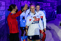 ORLANDO, FL - JANUARY 18: Becky Sauerbrunn #4 of the USWNT enters the tunnel before a game between Colombia and USWNT at Exploria Stadium on January 18, 2021 in Orlando, Florida.