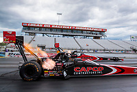 Jul 11, 2020; Clermont, Indiana, USA; NHRA top fuel driver Billy Torrence (near) alongside son Steve Torrence during qualifying for the E3 Spark Plugs Nationals at Lucas Oil Raceway. This is the first race back for NHRA since the start of the COVID-19 global pandemic. Mandatory Credit: Mark J. Rebilas-USA TODAY Sports