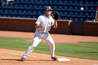 First baseman Jason Hagerty #22 of the Miami Hurricanes waits for the baseball at Durham Bulls Athletic Park May 21, 2009 in Durham, North Carolina.  (Photo by Brian Westerholt / Four Seam Images)
