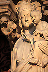 The statue of Virgin and Child on the Portal of the Virgin of Notre Dame cathedral. city of Paris. Paris. France