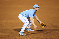 North Carolina Tar Heels third baseman Clemente Inclan (18) on defense against the South Carolina Gamecocks at Truist Field on April 6, 2021 in Charlotte, North Carolina. (Brian Westerholt/Four Seam Images)