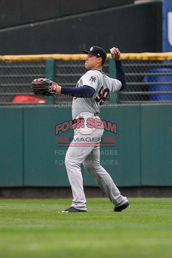Scranton/Wilkes-Barre RailRiders right fielder Aaron Judge (99) throws the ball from the outfield against the Rochester Red Wings on May 1, 2016 at Frontier Field in Rochester, New York. Rochester defeated Scranton 1-0.  (Christopher Cecere/Four Seam Images)