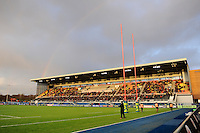 20130127 Copyright onEdition 2013©.Free for editorial use image, please credit: onEdition..General view of a rainbow over Alllianz Park during the LV= Cup match between Saracens and Cardiff Blues at Allianz Park on Sunday 27th January 2013 (Photo by Rob Munro)..For press contacts contact: Sam Feasey at brandRapport on M: +44 (0)7717 757114 E: SFeasey@brand-rapport.com..If you require a higher resolution image or you have any other onEdition photographic enquiries, please contact onEdition on 0845 900 2 900 or email info@onEdition.com.This image is copyright onEdition 2013©..This image has been supplied by onEdition and must be credited onEdition. The author is asserting his full Moral rights in relation to the publication of this image. Rights for onward transmission of any image or file is not granted or implied. Changing or deleting Copyright information is illegal as specified in the Copyright, Design and Patents Act 1988. If you are in any way unsure of your right to publish this image please contact onEdition on 0845 900 2 900 or email info@onEdition.com