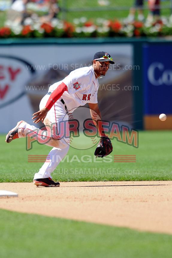 Pawtucket Red Sox shortstop Xander Bogaerts #15 during a game versus the Louisville Bats at McCoy Stadium in Pawtucket, Rhode Island on August 14, 2013.  (Ken Babbitt/Four Seam Images)