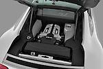 High angle engine detail of a 2008 - 2012 Audi R8 V8 FSI Coupe.