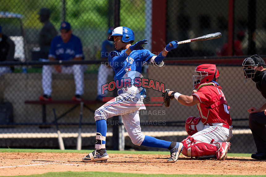 Toronto Blue Jays Angel Del Rosario (43) bats during an Extended Spring Training game against the Philadelphia Phillies on June 12, 2021 at the Carpenter Complex in Clearwater, Florida. (Mike Janes/Four Seam Images)