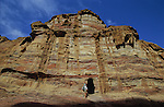 L Extraordinary range of colours of the sandstone where tombs are digged. Middle East. Jordan. Petra