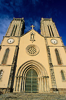 Facade of the Saint Joseph cathedral at sunset, Noumea, New Caledonia.