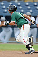 Greensboro Grasshoppers shortstop Anthony Gomez #2 runs to first during game one of a double header against the Asheville Tourists on July 2, 2013 in Asheville, North Carolina.  The Tourists won the game 5-3. (Tony Farlow/Four Seam Images)