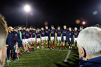 London Scottish players in a post match huddle during the Greene King IPA Championship match between London Scottish Football Club and Nottingham Rugby at Richmond Athletic Ground, Richmond, United Kingdom on 7 February 2020. Photo by Carlton Myrie.