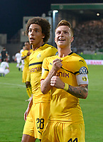 20.08.2018, Football DFB Pokal 2018/2019, 1. round, SpVgg Greuther Fuerth - Borussia Dortmund, Sportpark Ronhof in Fuerth. re:   2:1 of  Marco Reus (Dortmund). li: Axel Witsel (Dortmund).<br /><br /><br />***DFB rules prohibit use in MMS Services via handheld devices until two hours after a match and any usage on internet or online media simulating video foodaye during the match.*** *** Local Caption *** © pixathlon<br /> <br /> Contact: +49-40-22 63 02 60 , info@pixathlon.de