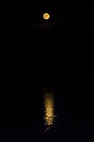 The Full Hunter's Moon rises while its reflection stretches across the rippled waters of San Leandro Bay at the MLK Regional Shoreline next to the Oakland International Airport.