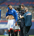 15.05.2021 Rangers v Aberdeen: Connor Goldson looks shattered after a long season
