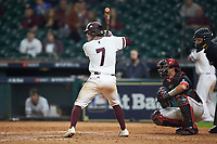 Luke Alexander (7) of the Mississippi State Bulldogs at bat against the Houston Cougars in game six of the 2018 Shriners Hospitals for Children College Classic at Minute Maid Park on March 3, 2018 in Houston, Texas. The Bulldogs defeated the Cougars 3-2 in 12 innings. (Brian Westerholt/Four Seam Images)
