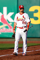 Adam Melker (26) of the Springfield Cardinals walks out from the clubhouse prior to a game against the Arkansas Travelers at Hammons Field on June 12, 2012 in Springfield, Missouri. (David Welker/Four Seam Images)
