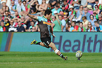Ben Botica of Harlequins takes a conversion attempt during the Aviva Premiership match between Harlequins and Exeter Chiefs at The Twickenham Stoop on Saturday 7th May 2016 (Photo: Rob Munro/Stewart Communications)