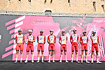 Cofidis at sign on before the start of Stage 2 of the 103rd edition of the Giro d'Italia 2020 running 149km from Alcamo to Agrigento, Sicily, Italy. 4th October 2020.  <br /> Picture: LaPresse/Gian Mattia D'Alberto | Cyclefile<br /> <br /> All photos usage must carry mandatory copyright credit (© Cyclefile | LaPresse/Gian Mattia D'Alberto)