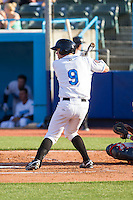 Mac James (9) of the Hudson Valley Renegades at bat against the Brooklyn Cyclones at Dutchess Stadium on June 18, 2014 in Wappingers Falls, New York.  The Cyclones defeated the Renegades 4-3 in 10 innings.  (Brian Westerholt/Four Seam Images)