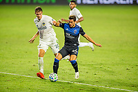 CARSON, CA - OCTOBER 14: Nicholas DePuy #20,of Los Angeles Galaxy and Cade Cowell #44 of the San Jose Earthquakes battle during a game between San Jose Earthquakes and Los Angeles Galaxy at Dignity Heath Sports Park on October 14, 2020 in Carson, California.