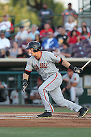 Austin Slater (10) of the San Jose Giants bats during a game against the Inland Empire 66ers at San Manuel Stadium on May 30, 2015 in San Bernardino, California. Inland Empire defeated San Jose, 6-4. (Larry Goren/Four Seam Images)