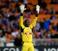 Bouna Coundoul (18) of the New York Red Bulls celebrates a goal during the game at RFK Stadium in Washington, DC.  D.C. United lost to the New York Red Bulls, 4-0.