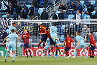 SAINT PAUL, MN - APRIL 24: Michael Boxall #15 of Minnesota United FC and Damir Kreilach #8 of Real Salt Lake battle for the ball during a game between Real Salt Lake and Minnesota United FC at Allianz Field on April 24, 2021 in Saint Paul, Minnesota.