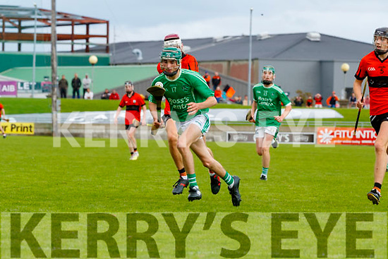 Aidan O'Connor, Ballyduff, in action against Rory Duggan, Ballyheigue, during the Kerry County Minor Hurling Championship Final match between Ballyduff and Ballyheigue at Austin Stack Park in Tralee, Kerry.