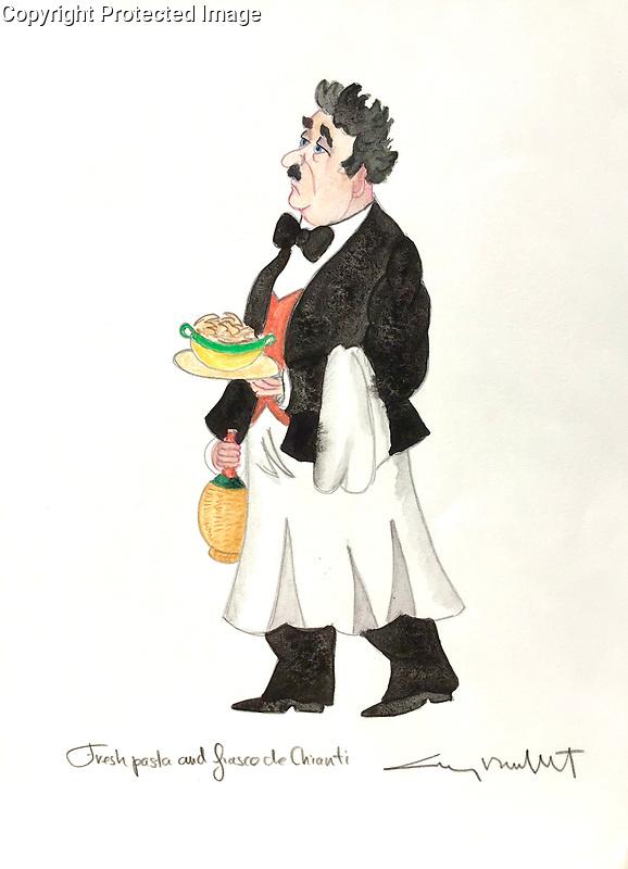 """""""Fresh Pasta and Fiasco de Chianti"""" <br /> 11x14 ORIGINAL Watercolor on Paper<br /> $1,750"""
