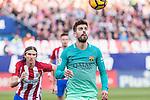 Gerard Pique of Futbol Club Barcelona in action during the match of Spanish La Liga between Atletico de Madrid and Futbol Club Barcelona at Vicente Calderon Stadium in Madrid, Spain. February 26, 2017. (ALTERPHOTOS)