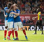 Barrie McKay celebrates his goal for Rangers with Joe Garner and Joe Dodoo