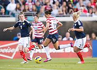 Carli Lloyd, Hayley Lauder, Rhonda Jones.  The USWNT defeated Scotland, 4-1, during a friendly at EverBank Field in Jacksonville, Florida.