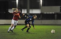 Club Brugge Vrouwen - PSV Eindhoven :<br /> <br /> duel tussen Barbara Lezy (R) en Vera Egelmeers (L)<br /> <br /> foto Dirk Vuylsteke / Nikonpro.be
