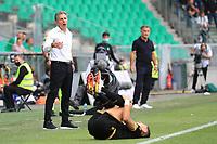 25th September 2021; Saint-Etienne Stade Geoffroy Guichard, France; AS Saint-Etienne versus OGC Nice; Claude Puel ASSE Coach and Christophe Galtier OGC Nice