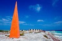 Slave huts Red Slave and red obelisk, Netherland Antilles, Caribbean, Atlantic, Bonaire, Bonaire