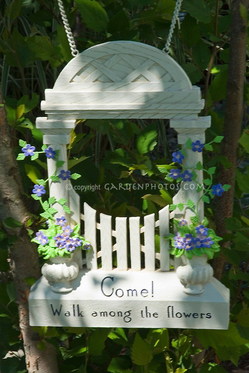 Garden sign: Come Walk among the flowers