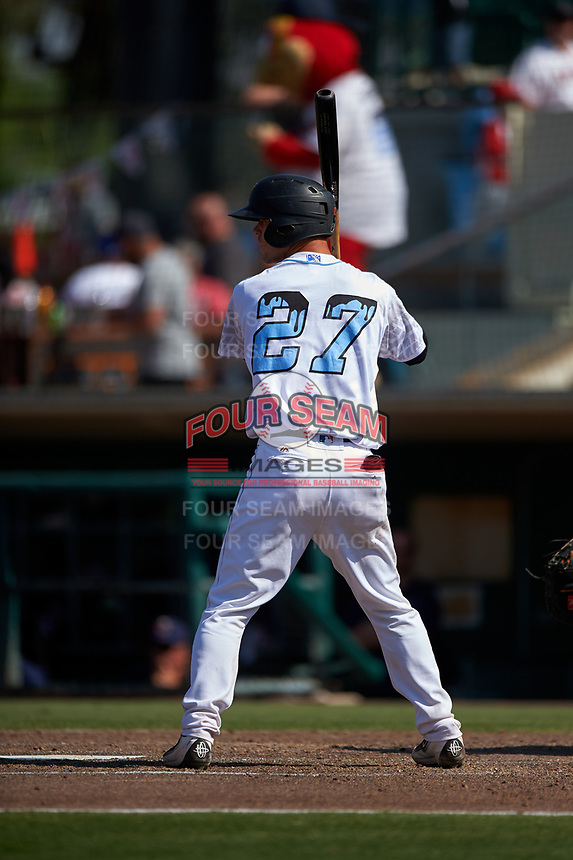 Inland Empire 66ers catcher Jack Kruger (27) at bat during a California League game against the Lancaster JetHawks at San Manuel Stadium on May 20, 2018 in San Bernardino, California. Inland Empire defeated Lancaster 12-2. (Zachary Lucy/Four Seam Images)