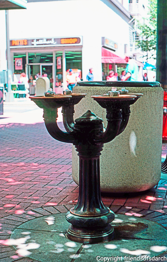 """Portland: Drinking Fountain, SW corner Washington at SW 5th, c. 1910.  This is one of several """"Benson Bubblers"""" presented to city by millionaire lumberman, Simon Benson. Portland now has 40 bronze drinking fountains."""