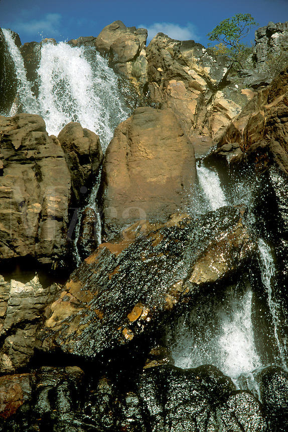 Part of Cachoeira das Cariocas waterfall, Chapada dos Veadeiros national Park, Goias, Brazil